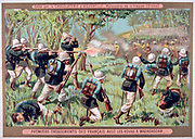 First Franco-Hova War 1883-1886: First engagement between French and Madagascan forces. War ended with the Treaty of Tamatave, January 1886.  France Colonisation Topee Malagassy Madagascar Chromolithograph Trade Card