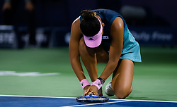 February 19, 2019 - Dubai, ARAB EMIRATES - Naomi Osaka of Japan in action during her second-round match at the 2019 Dubai Duty Free Tennis Championships WTA Premier 5 tennis tournament (Credit Image: © AFP7 via ZUMA Wire)