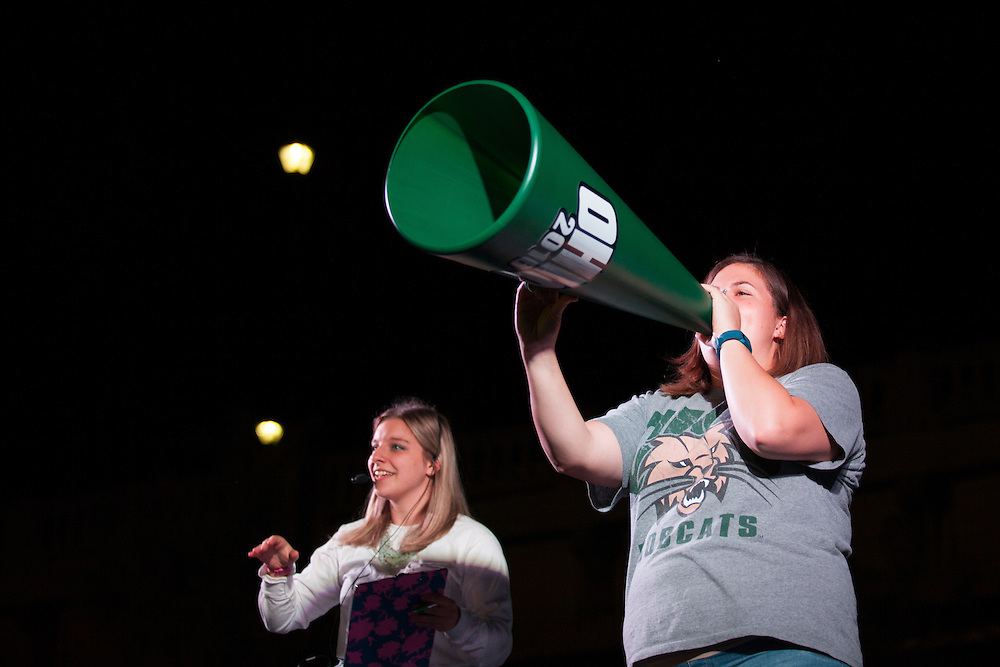 Jan-Marie Bales. the Cheermeister award winner, takes the stage at the Yell Like Hell Pep Rally. © Ohio University / Photo by Kaitlin Owens