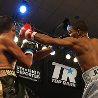 ORLANDO, FL - OCTOBER 04:  Gamalier Rodriguez (R) punches Martin Gonzales during a professional featherweight boxing match at the Bahía Shriners Auditorium & Events Center on October 4, 2014 in Orlando, Florida. Rodriguez won the bout by TKO. (Photo by Alex Menendez/Getty Images) *** Local Caption *** Martin Gonzales; Gamailer Rodriguez