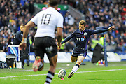 Greig Laidlaw converts during the 2018 Autumn Test match between Scotland and Fiji at Murrayfield, Edinburgh, Scotland on 10 November 2018.