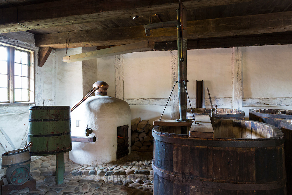 Period interior of distillery at Den Gamle By, The Old Town, folk museum at Aarhus, Denmark