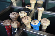 PHOENIX, AZ - APRIL 27:  A detail view of San Diego Padres bats as they sit in the bat rack prior to the MLB game between the San Diego Padres and Arizona Diamondbacks at Chase Field on April 27, 2017 in Phoenix, Arizona.  (Photo by Jennifer Stewart/Getty Images)