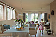 Interior of contemporary rustic home in Poland