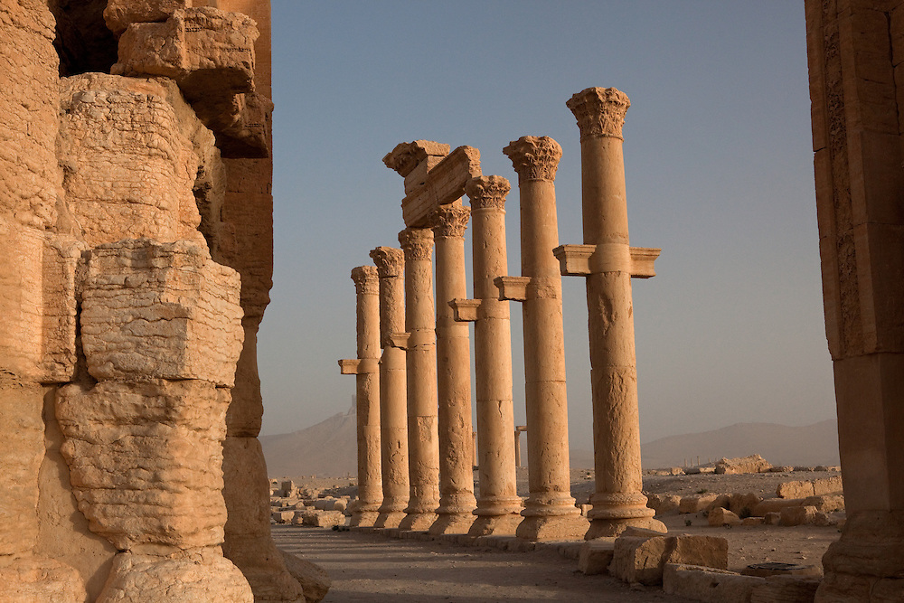 Columns of a colonnade, Roman ruins at Palmyra, Syria