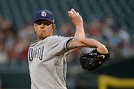 PHOENIX, AZ - APRIL 27:  Jered Weaver #27 of the San Diego Padres delivers a pitch in the first inning against the Arizona Diamondbacks at Chase Field on April 27, 2017 in Phoenix, Arizona.  (Photo by Jennifer Stewart/Getty Images)