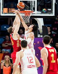 Timofey Mozgov of Russia vs Dario Saric of Croatia during basketball match between National Teams of Croatia and Russia at Day 11 in Round of 16 of the FIBA EuroBasket 2017 at Sinan Erdem Dome in Istanbul, Turkey on September 10, 2017. Photo by Vid Ponikvar / Sportida