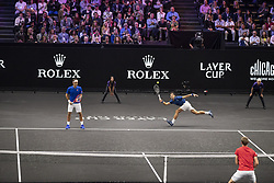 September 21, 2018 - Chicago, Illinois, U.S - Team Europe member ROGER FEDERER of Switzerland and partner NOVAK DJOKOVIC of Serbia stay back on the baseline during the first doubles match on Day One of the Laver Cup at the United Center in Chicago, Illinois. (Credit Image: © Shelley Lipton/ZUMA Wire)