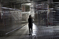 """Korean artist Haegue Yang poses for a portrait in her exhibition installation """"Arrivals"""" at the Kunsthaus Bregenz."""