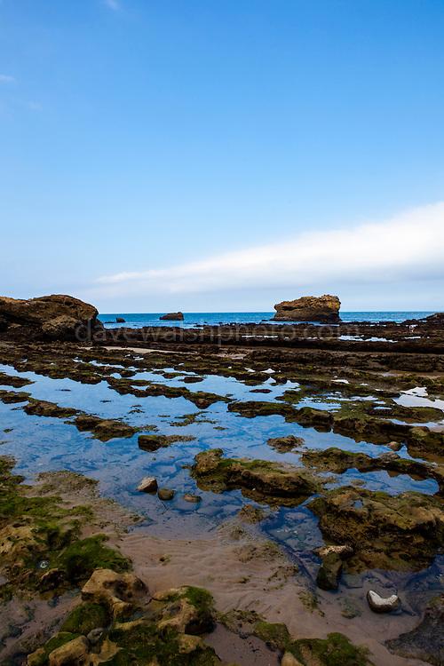 Biarritz at low tide, Port des pecheurs, Pays Basque, France