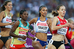 London, August 10 2017 . Adelle Tracey, Great Britain, Habitam Alemu, Ethiopia, Selina Büchel, Switzerland in the \\ on day seven of the IAAF London 2017 world Championships at the London Stadium. © Paul Davey.