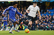 Chelsea attacker Willian in possession yet again during the Barclays Premier League match between Chelsea and Everton at Stamford Bridge, London, England on 16 January 2016. Photo by Andy Walter.