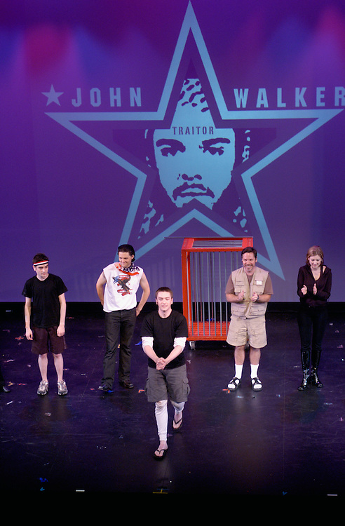 "Curtain call, ""John Walker: The Musical"" (l-r: Josh Fiedler, Scoop Slone, Brian Charles Rooney, L.J. Mitchell, Valerie Clift)"