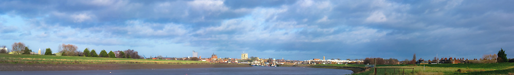 View of King's Lynn overlooking the River Great Ouse from South Lynn including, from left, North Lynn Granary tower, The maltings, St. Margaret's Church/King's Lynn Minster, Majestic Cinema and Greyfriar's Tower