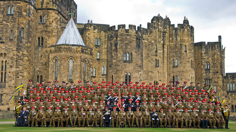 The Prince of Wales meets members of the Queens Own Yeomanry as it was today presented with its first Guidon at Alnwick Castle today in Northumberland. Saturday September 22, 2007.