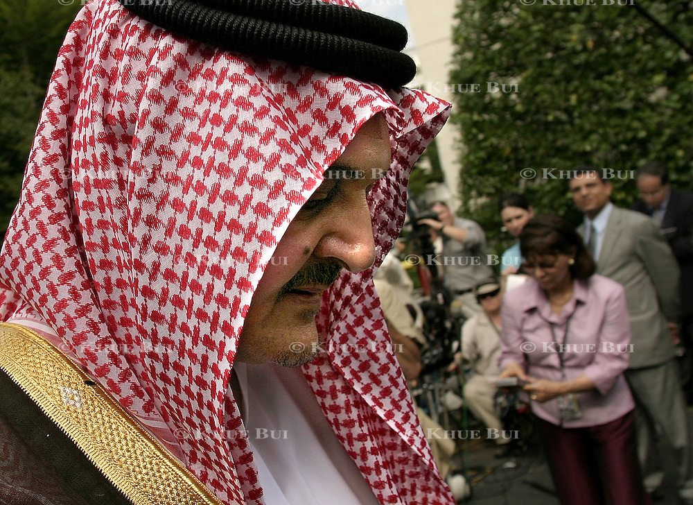 Foreign Minister of Saudi Arabia Prince Saud al-Faisal speaks to reporters outside the West Wing of the White House Tuesday, July 29, 2003.  The Saudi Arabian government is protesting the release of the 9/11 report with redacted sections of classified documents, maintaining that these sections connect the Saudi goverment with the hijackers...Photo by Khue Bui