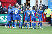 Paul Robinson of AFC Wimbledon celebrates his goal during the Sky Bet League 2 match between Cambridge United and AFC Wimbledon at the R Costings Abbey Stadium, Cambridge, England on 2 January 2016. Photo by Stuart Butcher.