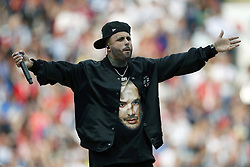 Singer Nicky Jam performs during the closing ceremony of the Russia 2018 World Cup ahead of the final football during the 2018 FIFA World Cup Russia Final match between France and Croatia at the Luzhniki Stadium on July 15, 2018 in Moscow, Russia