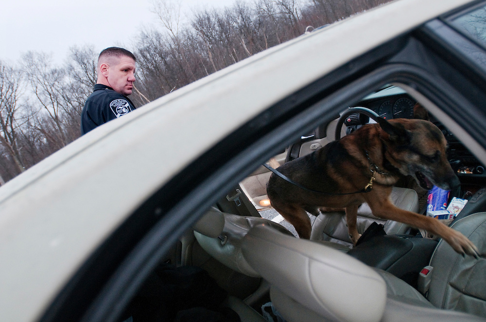 "Matt Dixon | The Flint Journal..Sergeant Matthew Simpson conducts a vehicle search with his K-9 partner Kase, Wednesday, Jan. 26. Kase will be retired from duty on Sunday when the K-9 unit is discontinued at the Grand Blanc Township Police Department. Simpson has worked with Kase for almost nine years, and spends nearly his entire day with him. ""I tell him things that I don't tell anyone"" he says. After Kase is retired, he will remain with Simpson but will not being giong to work with him everyday."