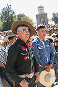 Mexican cowboys attend mass marking Three Kings Day and the end of the annual Cabalgata de Cristo Rey pilgrimage January 6, 2017 in Guanajuato, Mexico. Thousands of Mexican cowboys and horse take part in the three-day ride to the mountaintop shrine of Cristo Rey.