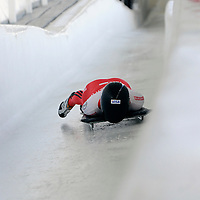 27 February 2007:  Melissa Hollingsworth of Canada hits the wall in the Chicane in the 3rd run at the Women's Skeleton World Championships competition on February 27 at the Olympic Sports Complex in Lake Placid, NY.