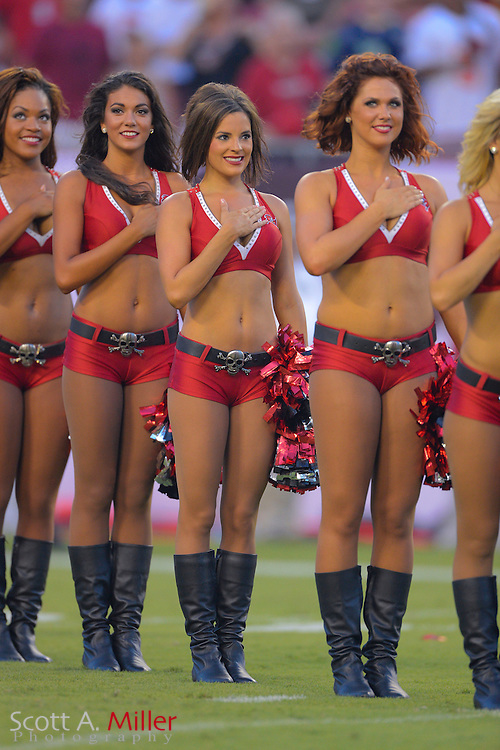 Tampa Bay Buccaneers cheerleader during a preseason NFL game at Raymond James Stadium on Aug. 8, 2013 in Tampa, Florida. <br /> <br /> &copy;2013 Scott A. Miller