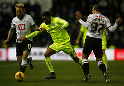 Johnny Russell of Derby County (L) and Rjaiv van La Parra of Brighton & Hove Albion in action - Mandatory byline: Jack Phillips / JMP - 07966386802 - 12/12/2015 - FOOTBALL - The iPro Stadium - Derby, Derbyshire - Derby County v Brighton & Hove Albion - Sky Bet Championship