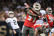 NEW ORLEANS, LA - SEPTEMBER 20:  Zach Hocker #2 of the New Orleans Saints watches his missed field goal attempt against the Tampa Bay Buccaneers at Mercedes-Benz Superdome on September 20, 2015 in New Orleans Louisiana.  The Buccaneers defeated the Saints 26-19. (Photo by Wesley Hitt/Getty Images) *** Local Caption *** Zach Hocker