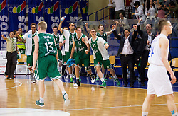 Players of Olimpija celebrate during basketball match between KK Helios Domzale and KK Union Olimpija Ljubljana in 2nd semifinal of Telemach Slovenian Champion League 2011/12, on May 10, 2012 in Arena Komunalni center, Domzale, Slovenia. Union Olimpija defeated Helios 81-78 after overtime and qualified to finals. (Photo by Vid Ponikvar / Sportida.com)