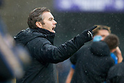Macclesfield Town manager Daryl McMahon gives instructions to the players during the EFL Sky Bet League 2 match between Macclesfield Town and Mansfield Town at Moss Rose, Macclesfield, United Kingdom on 16 November 2019.