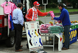 Selling jerseys and socks before the 3rd stage of the 15th Tour de Slovenie from Skofja Loka to Krvavec (129,5 km), on June 13,2008, Slovenia. (Photo by Vid Ponikvar / Sportal Images)/ Sportida)