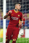 Diego Perotti of Roma celebrates after Edin Dzeko scoring 2-1 goal during the UEFA Europa League, Group J football match between AS Roma and Wolfsberg AC on December 12, 2019 at Stadio Olimpico in Rome, Italy - Photo Federico Proietti / ProSportsImages / DPPI