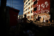 A boy rides a horse passing in front of the IBGE abandoned building in Rio de Janeiro, Brazil, July 13, 2015. Photo/Pilar Olivares