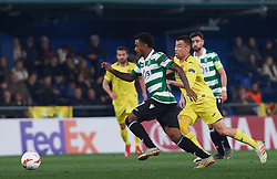 February 21, 2019 - Villarreal, Castellon, Spain - Javi Fuego of Villarreal CF and Marcus Wendel Valle da Silva of Sporting Lisboa during the UEFA Europa League Round of 32 Second Leg match between Villarreal and Sporting Lisboa at Estadio de La Ceramica on February 21, 2019 in Vila-real, Spain. (Credit Image: © AFP7 via ZUMA Wire)