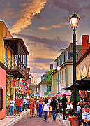 Historic Aviles Street - the Nation's oldest street on First Friday Artwalk in downtown St. Augustine, Florida. Aviles street is home to local Art Galleries and Restaurants.