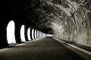 The inside of a tunnel on the col du Montgenevre