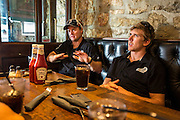 Emirates Team New Zealand sailors Glenn Ashby and Peter Burling talk over sailing tactics after the Extreme Sailing Series Practice day in Nice. 1/10/2014