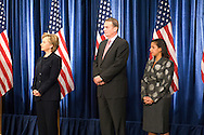 December 1st 2008 - Chicago, IL - Press Conference with newly elected President Barack Obama at the Hilton Hotel in downtown Chicago...Hillary Rodham Clinton, retired Marine Gen. James Jones and Susan Rice listen as Obama announced his security team with Vice President-elect Joe Biden.  Hillary Rodham Clinton was introduced as secretary of state, retired Marine Gen. James Jones as White House national security adviser, Eric Holder as attorney general and Arizona Governor, Janet Napolitano as secretary of homeland security, and United Nations Ambassador Susan Rice. Robert Gates will remain as the defense secretary...Photo Credit: Heather A. Lindquist/Sipa..