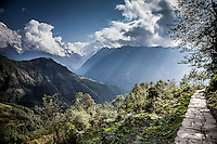 Stone pathway on the Annapurna Trail, Nepal.