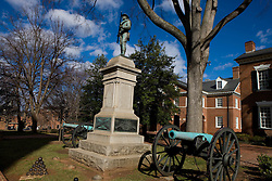 A statue of a Confederate soldier, next to two Civil War era canons, sits in front of the Albemarle County Courthouse in Historic Court Square, Charlottesville, Virginia February 19, 2008.