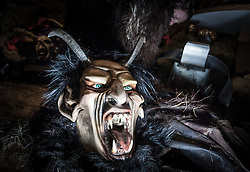 THEMENBILD - KRAMPUSLAUF, am Freitag, 30. November 2012, in Kaprun im Pinzgau. Der Krampus ist im ostalpenlaendischen Adventsbrauchtum eine Schreckgestalt, meist in Begleitung des Heiligen Nikolaus. Hier im Bild eine Krampusmaske. // THEME PICTURE - Krampus, the mythical creature that, according to legend, accompanies Saint Nicholas during the festive season.  Instead of giving gifts to good children, he punishes the bad ones. In the picture is a Krampus mask. Image taken on 30.11.2012, Kaprun, Austria. EXPA Pictures © 2012, PhotoCredit: EXPA/ Juergen Feichter