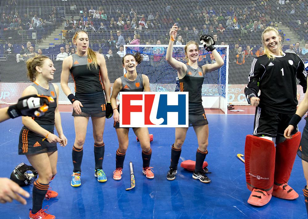 BERLIN - Indoor Hockey World Cup<br /> Semi-final 2: Australia - Austria<br /> foto: Netherlands wins and dancing.<br /> UIJLENBROEK