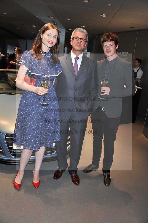 Left to right, SOPHIE ELLIS-BEXTOR, RUPERT STADLER chairman of Audi and RICHARD JONES at the Global Launch of Audi's first Digital Showroom, 74-75 Piccadilly, London on 16th July 2012.