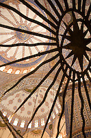 View of the ceiling in the Blue Mosque, Istanbul, Turkey
