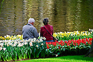 A senior couple at Keukenhof Spring Tulip Gardens, Lisse, The Netherlands.