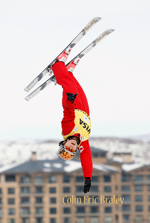 China's Xinxin Guo competes in qualifying round in the women's World Cup freestyle aerials event at the Deer Valley Resort, Friday, Jan. 15, 2010, in Park City, Utah. (AP Photo/Colin E Braley).