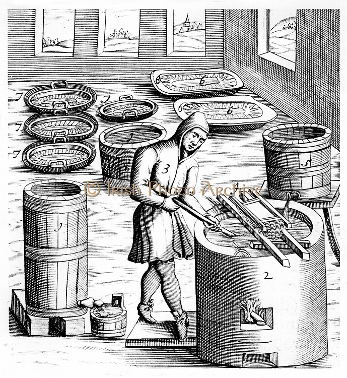 Crystallization of Saltpetre (Nitre, Potassium Nitrate, or KN03. Saltpetre is the principal ingredient in gunpowder, and is still used in the preservation of some foods.  In medicine it was used internally as a diuretic, but now is only used externally for a number of conditions, such as asthma. From 1683 English edition of  'Beschreibung allerfurnemisten mineralischen Ertzt', Lazarus Ercker, (Prague, 1574). Copperplate engraving.