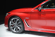 A red Infiniti Q60s 3.0t sports coupe, seen closeup, is on display at the New York International Auto Show 2016, at the Jacob Javits Center. It was Press Preview Day one of NYIAS, and the Trade Show will be open to the public for ten days, March 25th through April 3rd.