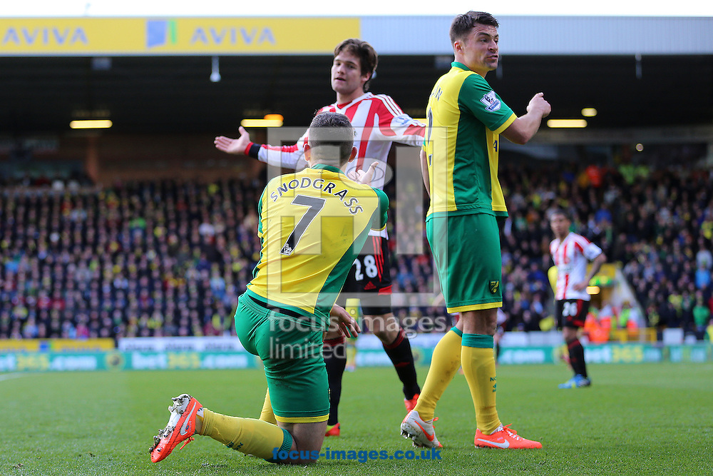 Robert Snodgrass of Norwich City reacts after being kicked from Marcos Alonso of Sunderland during the Barclays Premier League match at Carrow Road, Norwich<br /> Picture by Richard Calver/Focus Images Ltd +447792 981244<br /> 22/03/2014