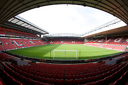 The view of the Anfield pitch from the Anfield Road Lower Stand, centre of Block 124.